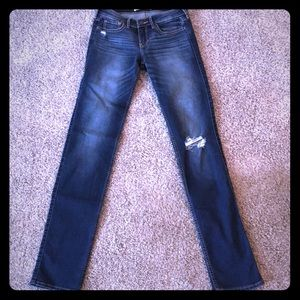 Size 26W, 34L, dark wash, straight-leg, jeans